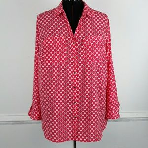 CHARTER CLUB PLUS SIZE PRINTED BUTTON DOWN SHIRT